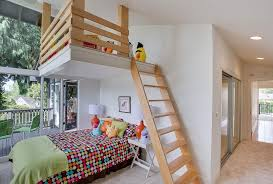 Contemporary Kids Bedroom with Ladder, High ceiling, Carpet, Loft, Your  Zone Color