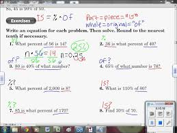 6 2 c percent equation and how to solve for anything with it 7th grade math you