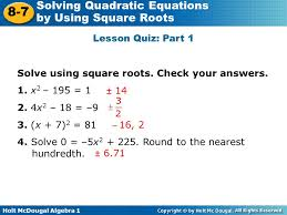 31 solve using square roots check your answers