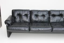 Coronado Black Leather Sofa by Tobia Scarpa for B&B Italia, 1970s for sale  at Pamono