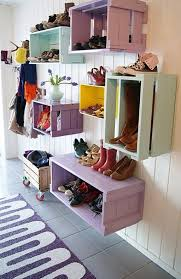 wood crate furniture diy. Colorful Wood Crate For Shoe Rack Furniture Diy