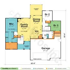Home Plans HOMEPW24922  1887 Square Feet 3 Bedroom 2 Bathroom Open Floor Plans For One Story Homes