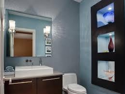 half bathrooms. Contemporary Blue Bathroom With Built-In Shelves Half Bathrooms HGTV.com