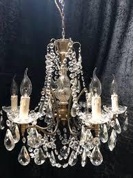six light italian brass crystal chandelier c 1920 1 of 9