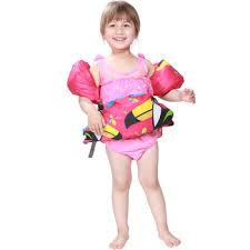 Megartico Swim Jacket Float Kids Vest Girls Detachable Floatation Swim Belt Armbands Set Puddle Jumper Toucan Girl View Puddle Jumper Custom