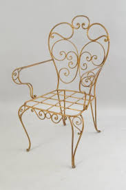 set of four vintage italian gold gilt iron armchairs chairs feature ornate scroll work
