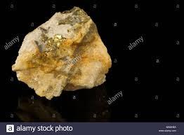 Sulfide Minerals Chalcopyrite Copper Iron Sulfide Mineral Ore Isolated On Black