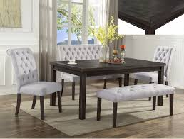 crown mark 2022t 5 pc palmer dark wood finish dining table set with fabric upholstered chairs and benches