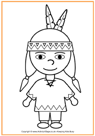 Small Picture Pilgrim and Indian Colouring Page Thanksgiving Activities for Kids