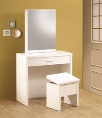 taylor white makeup table station with bench