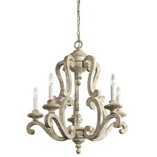 kichler lighting antique kitchen chandelier with distressed white finish