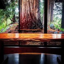 Redwood Slab Dining Table Redwood Slab And Walnut Table Perspective Design Build