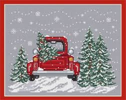 Bringing Home The Tree Cross Stitch Chart And Free Embellishment