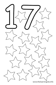 Number 17 Coloring Page Seventeen Stars - Get Coloring Pages