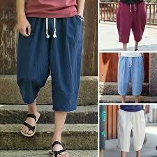 Trousers <b>Men Casual Loose Fit</b> Sports Pants Ankle-Length Linen ...