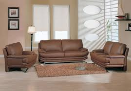 Leather Furniture For Living Room Brown Leather Sofa Loveseat And Chair For Modern Minimalist Living