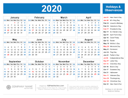 Printable Calendars 2020 With Holidays Free Printable 2020 Calendar With Holidays