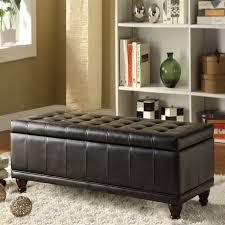 Leather Storage Bench Bedroom Good Looking Faux Leather Storage Bench Homepop Faux Leather