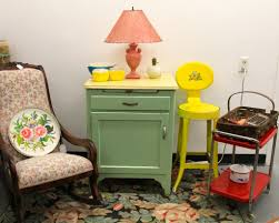 Red And Yellow Kitchen Found In Ithaca A Ladies Rocker Sold Green Cabinet With Yellow