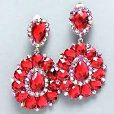 formidable red crystal chandelier earrings ruby red crystal chandelier earrings in rhodium image concept