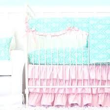 aqua crib skirt pink and aqua damask ruffle crib bedding set with crib rail cover aqua aqua crib skirt