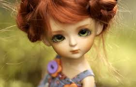 Wallpaper toy, doll, red, green-eyed ...