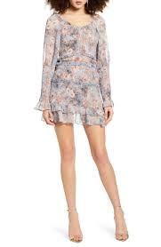 SNDYS Violet <b>Floral Print Long Sleeve</b> Minidress   Nordstrom