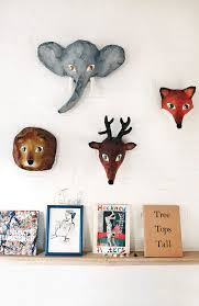 papier mache animal head wall decor
