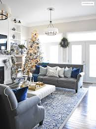 Christmas Home Tour - Gorgeous living room dressed in blues, gold, silver  and flocked
