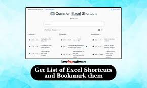 Free Service To Get List Of Excel Shortcuts Bookmark Favorite Excel