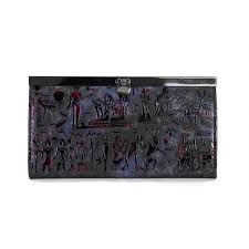 Coach Egyptian Wall Painting Large Purple Wallets EDW