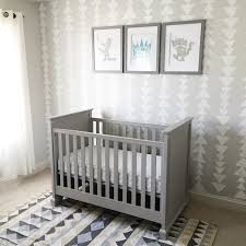 Max\u0027s grey nursery with sponge triangle stamped wall, where the ...