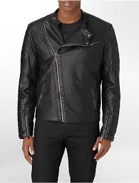 calvin klein asymmetrical zip close faux leather biker moto jacket