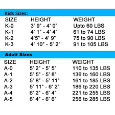 Size Chart Of Bjj