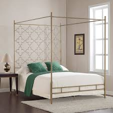 bedroom soft brown stainless steel retro glitz quatrefoil queen canopy bed with white blanket on