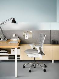 office workspaces. Gray Sayl Chair With Fabric Seat At A Canvas Office Landscape Individual Workstation. Select Workspaces