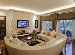 Living Room Ideas Ceiling Light Fixtures Round Cream Sectional Leather Sofa  Brown Gloss Hardwood Floor Photo