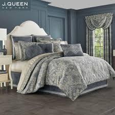 miranda steel blue damask comforter bedding by j queen new york