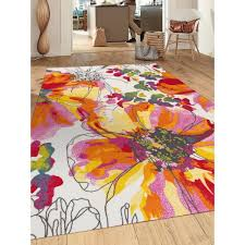 bright area rugs wish modern flowers multicolored non slip skid rug and also 6