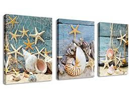 canvas wall art starfish shell fishing net stone on beach sands 3 pieces contemporary pictures on starfish wall art amazon with amazon canvas wall art starfish shell fishing net stone on
