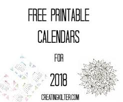 Free Printable Calendars For 2018 | Creating Kilter