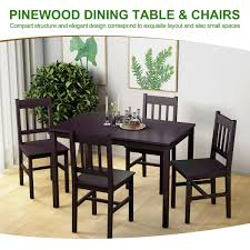 Costway Costway 5pcs Solid Pine Wood Dining Set Table And 4 Chairs