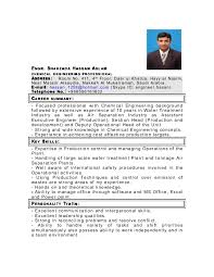 Chemical Engineer Resume Adorable My Latest Cv As Chemical Engineer In Pdf