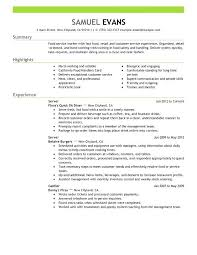 Resume For Fast Food Cashier 15 Unique Server Resume Examples Lordvampyr Net