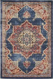 unique loom arcadia collection dark blue 4 x 6 area rug 4 x 6