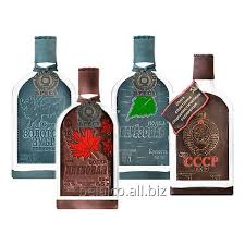 exclusive vodka in glass bottle decorated with leather