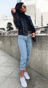 comfy outfit idea black high neck top leather jacket boyfriend jeans white