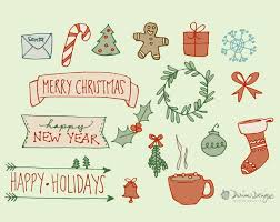 Simple Christmas Line Art Commercial Use Clipart Royalty Free Clip Art Red And Green Merry Christmas Holiday Signs Digital Download