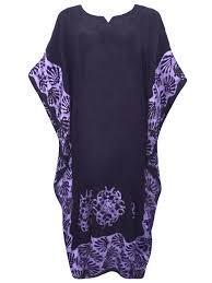 Eaonplus Black Purple Full Length Batik Kaftan Dress Plus Size