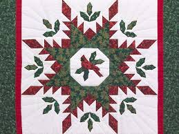 Christmas Cardinal Feathered Star Quilt -- great meticulously made ... & ... Christmas Cardinal Feathered Star Wall Hanging Photo ... Adamdwight.com